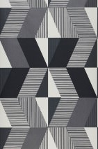 Papel pintado Aaron Mate Elementos gráficos Blanco crema Tonos de gris