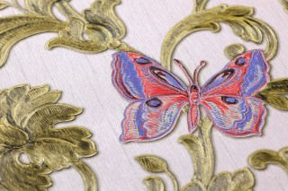 Wallpaper Glory Shimmering pattern Matt base surface Floral damask Bugs Butterflies Words Pale pink Blue lilac Strawberry red Green-beige shimmer Olive-yellow shimmer