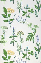 Wallpaper Evelani Hand printed look Matt Field flowers White Blue Yellow Green Violet