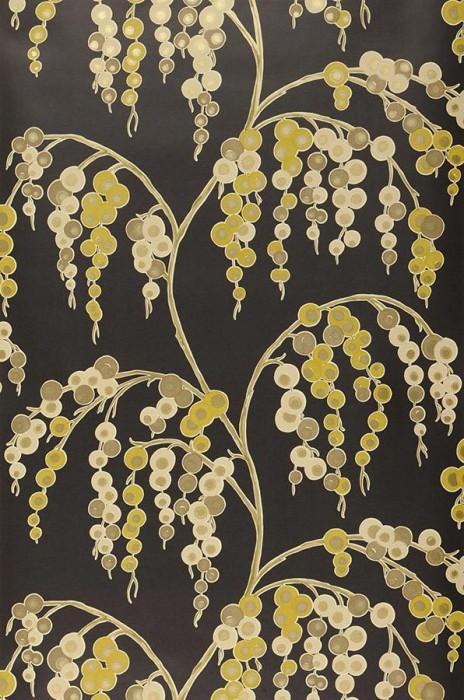 Wallpaper Erigone Shimmering pattern Matt base surface Branches with fruit Black Ivory Yellow green Light ivory