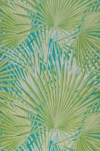 Wallpaper Iboka Matt Palm fronds Turquoise green Cream Yellow green Mint turquoise