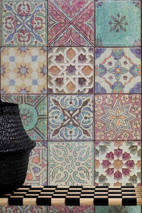 Papel de parede Italus Mate Imitação de azulejo Bege Azul Marrom escuro Turquesa menta Laranja Vermelho vinho