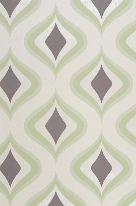 Wallpaper Triton Matt Retro ornaments Light ivory Grey brown Light green