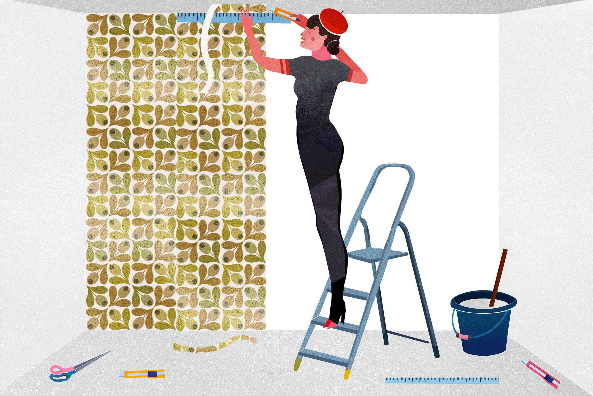 Como-pendurar-papel-de-parede-a-base-de-papel-Corte-as-sobras
