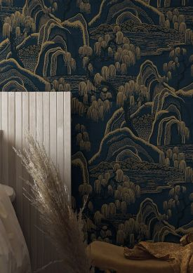 Wallpaper Japanese Garden anthracite grey Raumansicht