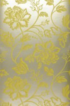Wallpaper Ninkasi Matt pattern Shimmering base surface Stylised flowers White gold Green yellow
