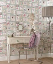 Wallpaper Belana Matt Flowers Vases Birds Bird cages Pale mint green Antique pink Pale grey Pale red Pale violet Green grey Light brown beige
