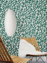 Wallpaper Oceane Matt Stylised corals Cream Pine green