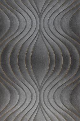 Papel pintado Tirion gris oscuro Ancho rollo