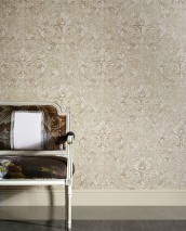 Wallpaper Vinicius Shimmering Baroque damask Light ivory Brown beige Cream Grey beige