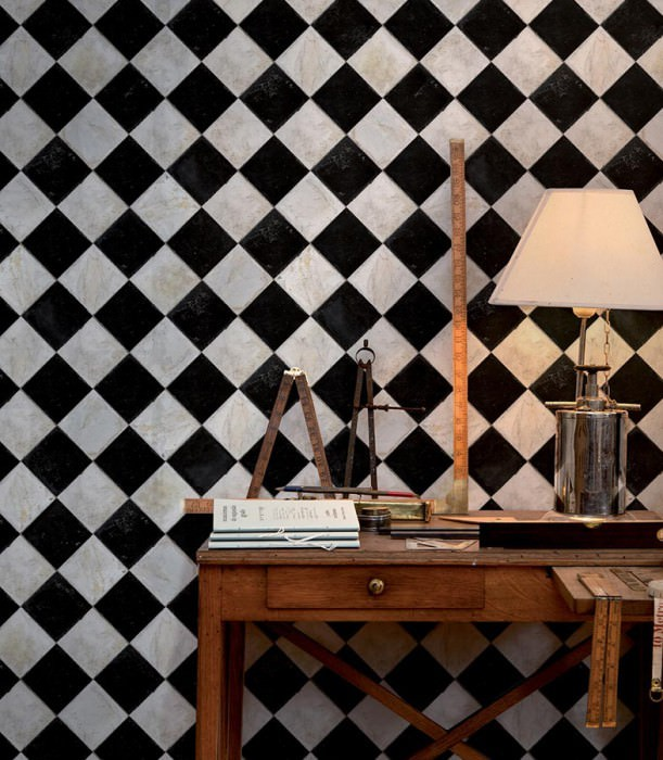 Wallpaper Marbel chess Shimmering Imitation tiles Grey white Black brown