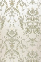 Wallpaper Susano Matt pattern Shimmering base surface Floral damask Cream shimmer Pale green Brown beige Light grey White