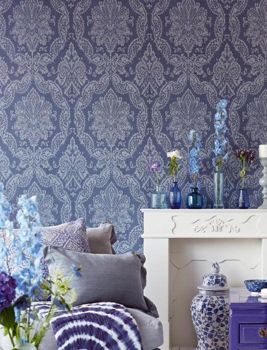 Wallpaper Heigold Matt Looks like textile Baroque damask Pigeon blue Light grey blue glitter