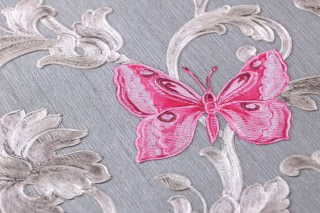 Papel pintado Glory Patrón brillante Superficie base mate Damasco floral Insectos Mariposas Gris Blanco parduzco brillante Marrón grisáceo brillante Magenta