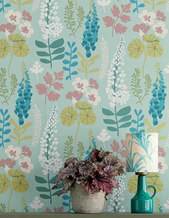 Papier peint Luzie Mat Feuilles Fleurs Turquoise menthe Bleu ciel Crème Vert clair Rouge vin clair Blanc