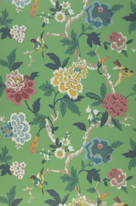Wallpaper Sloana Hand printed look Matt Birds Branches with leaves and blossoms Pea green Dark blue Grey beige Green blue Honey yellow Patina green Red violet