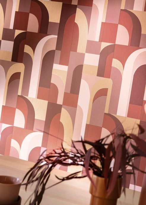 Art Deco Tapeten Tapete Seizo Brauntöne Raumansicht