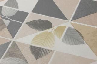 Papel pintado Waldivia Mate Hojas Elementos geométricos Beige Blanco crema Marfil Gris