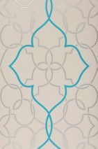 Wallpaper Dario Shimmering pattern Matt base surface Modern damask Light grey Silver lustre Turquoise blue