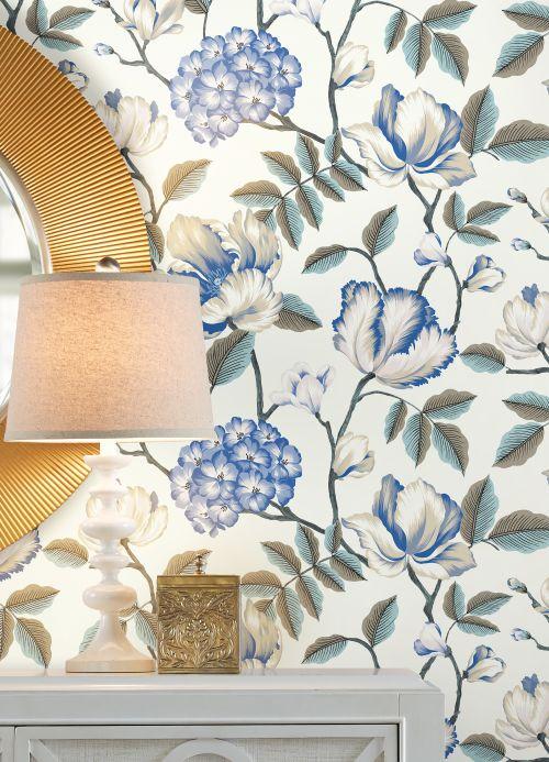 Papel pintado floral Papel pintado Alba blanco Ver habitación
