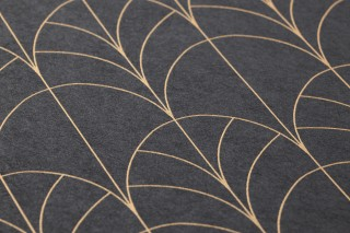 Wallpaper Ninon Shimmering pattern Matt base surface Art Deco Bends Slate grey  Yellow-gold pearl lustre