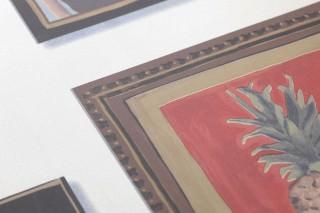 Papier peint Silas Mat Cadres Personnes Blanc crème nacré lustre Brun Bleu gris Gris kaki Rouge