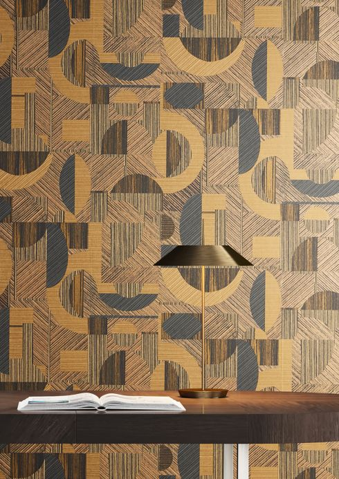 Geometric Wallpaper Wallpaper Paseo beige-brown shimmer Room View