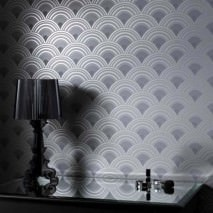 Wallpaper Zosim Matt pattern Shimmering base surface Bends Silver Grey tones