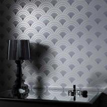 Papier peint Zosim Motif mat Surface chatoyante Courbes Argenté Tons de gris