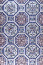 Wallpaper Hesperus Matt Oriental Tiling Motif Cream Red Turquoise blue Ultramarine