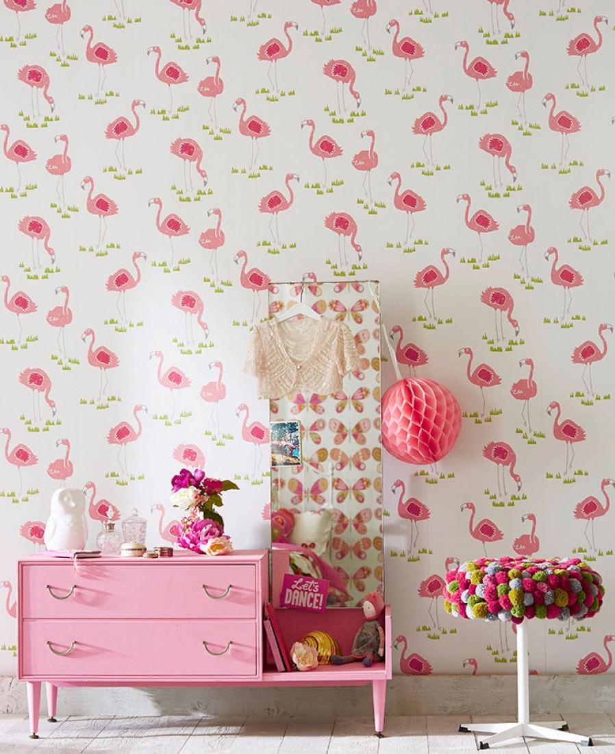 Flamingo oasis cremeweiss altrosa gelbgr n himbeerrot for Kinderzimmer 70er