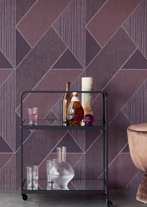 Geometric Wallpaper Wallpaper Kolana violet tones Room View