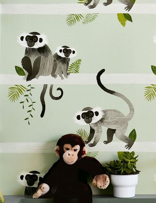 Papier peint Trixi Mat Singes Feuilles Blanc vert Tons de gris Blanc gris Tons de vert