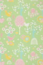 Wallpaper Körsbärsdalen Hand printed look Matt Trees Blossoms Birds Light yellow green Antique pink Maize yellow Pastel turquoise White