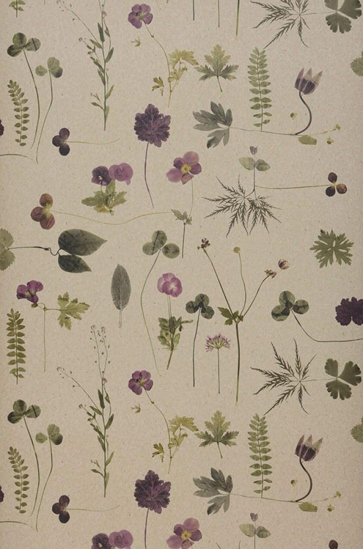 Wallpaper Tuina Matt Field Flowers Light Grey Beige Brown Olive Green Violet Roll Width