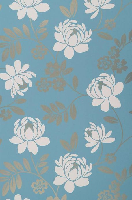 Archiv Papel de parede Penelope azul turquesa Largura do rolo