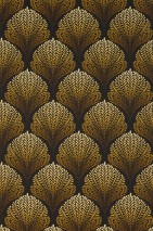 Wallpaper Enovi Matt Leaves Fan pattern Black grey Ochre yellow