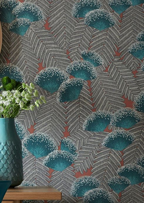 Floral Wallpaper Wallpaper Tambika mint turquoise Room View