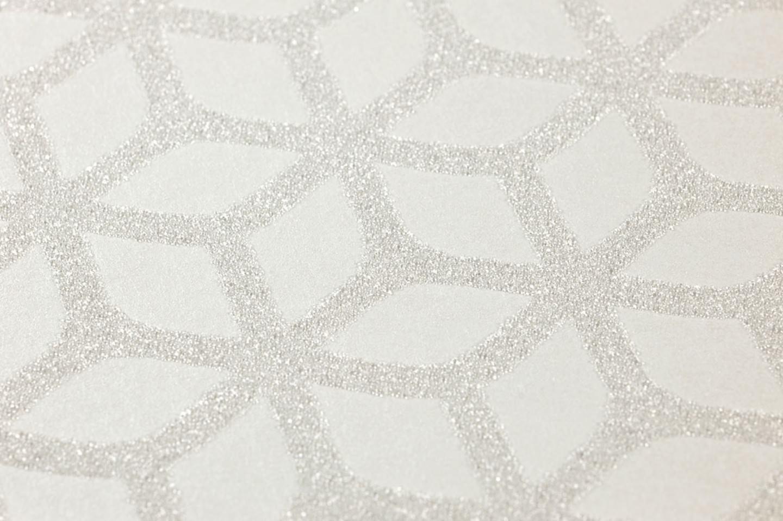 Papier peint zelor blanc cr me argent blanc chatoyant papier peint des a - Papier peint annee 70 ...