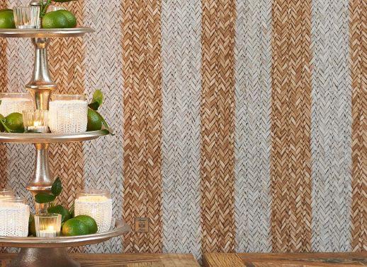 Papel de parede Rattan Striped bege pardo Ver quarto