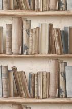 Wallpaper Jimen Matt Bookshelf Brown white Brown beige Grey beige Sepia brown Pigeon blue