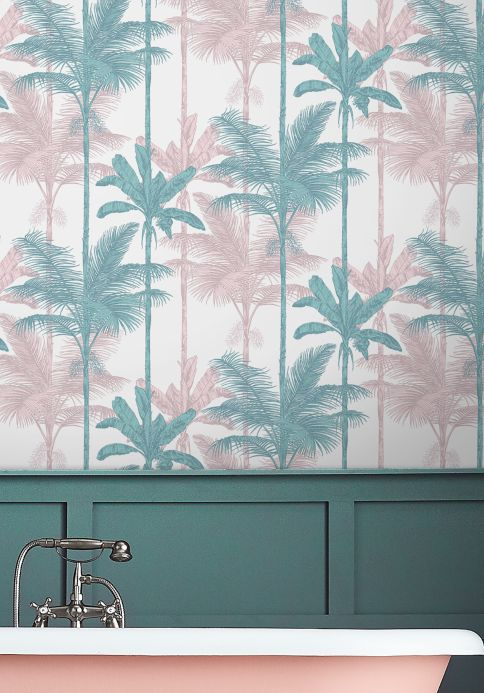 Botanical Wallpaper Wallpaper Tamaris ocean blue Room View
