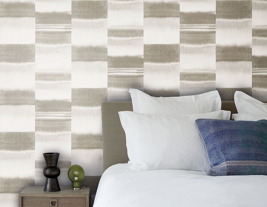 Striped Wallpaper Wallpaper Fenegra beige grey Room View