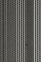 Papier peint Dots and Stripes Mat Points Rayures Blanc crème Gris noir