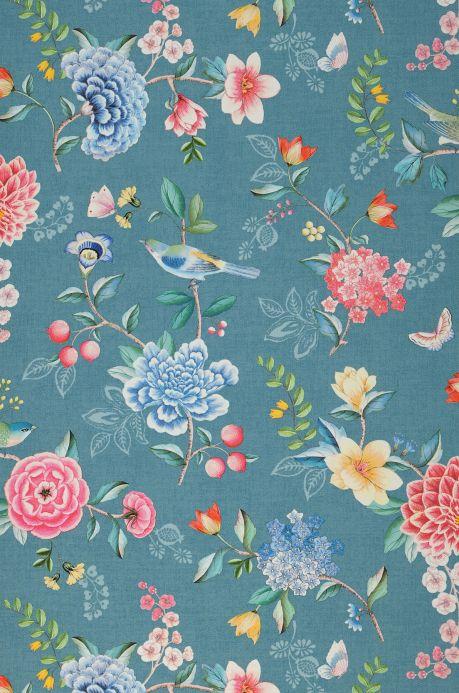Floral Wallpaper Wallpaper Vanity turquoise blue Bahnbreite