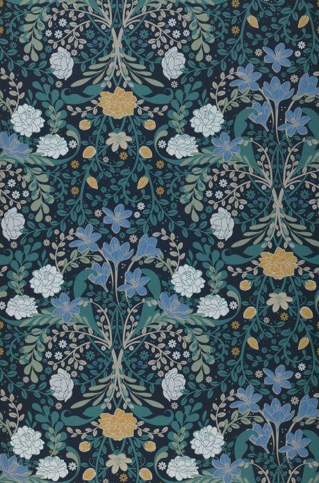 Papel de parede floral Papel de parede Kristina azul brilhante Bahnbreite