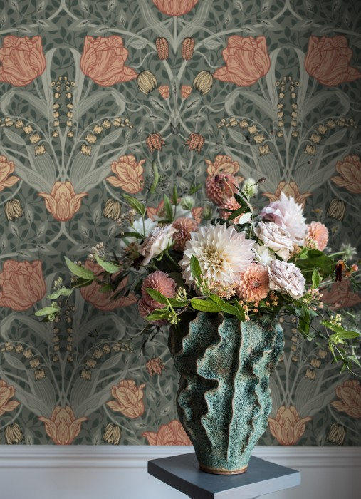 Wallpaper Anita Matt Leaves Flower tendrils Light mint grey Blue Green Brown Grey white Light beige-red Pastel green