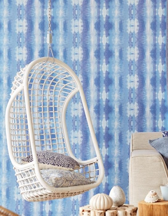 Wallpaper Alika Matt Looks like textile Batik style Stripes Shades of blue