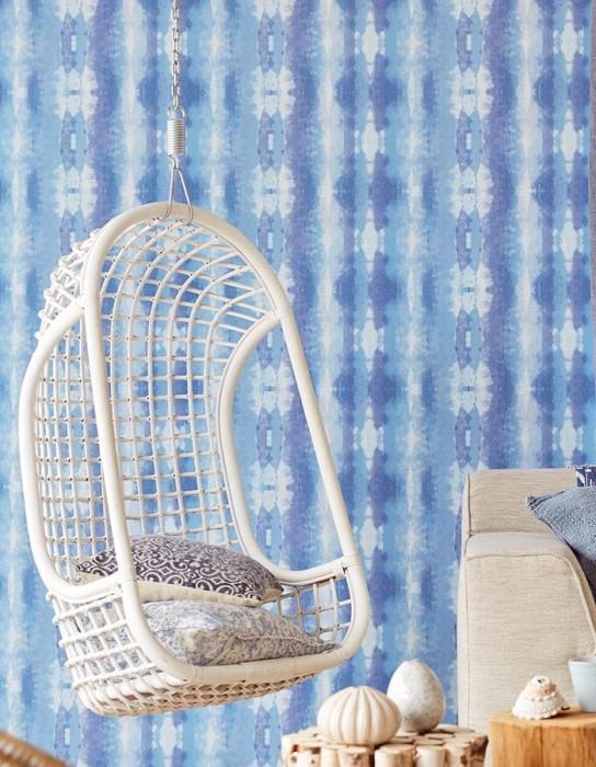 Papel pintado Alika Mate Efecto textil Estilo batik Rayas Tonos de azul