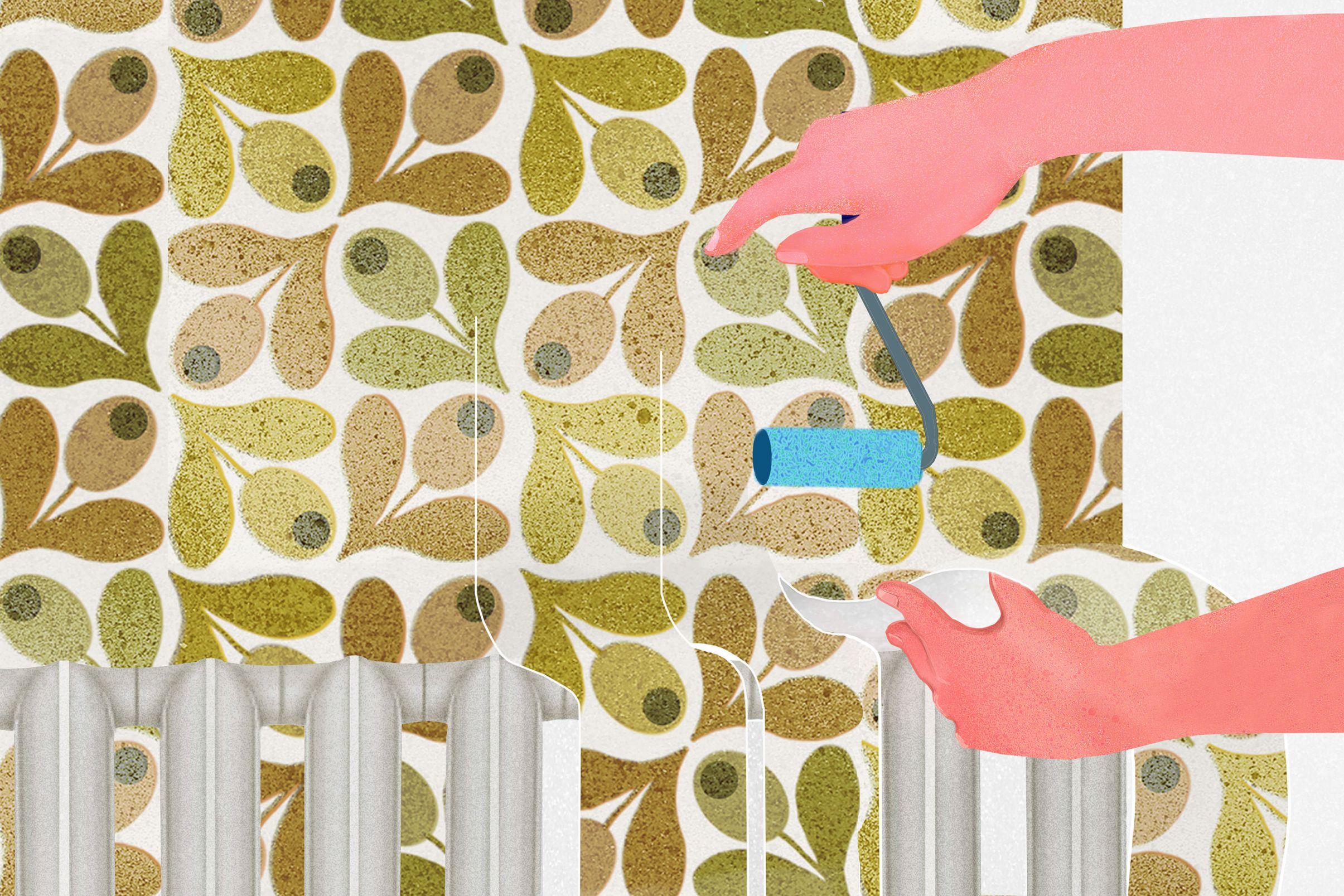 Como-empapelar-detras-de-radiadores-Cortar-franjas-individuales-y-empapelar-la-pared